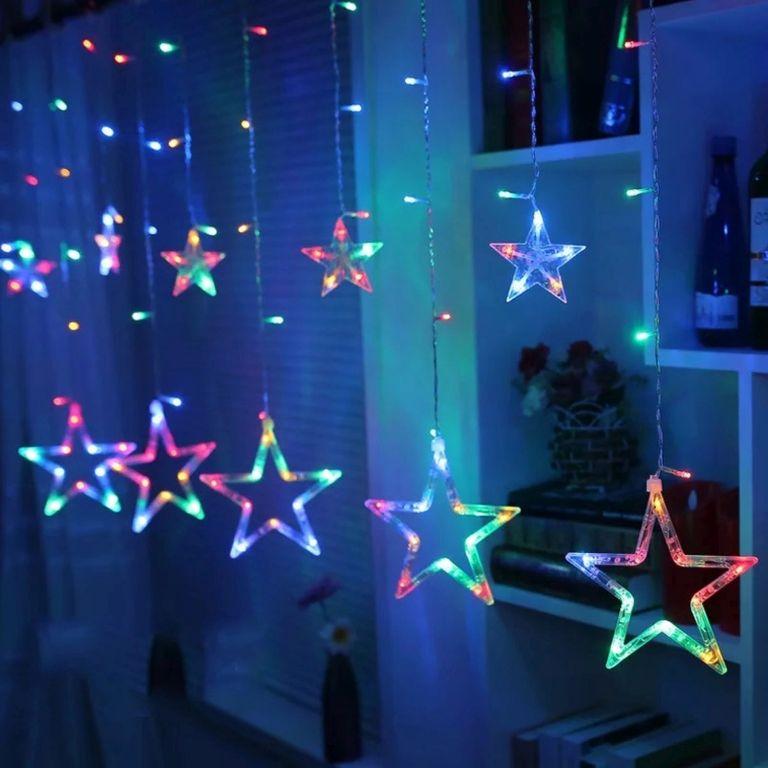 Świąteczne dekoracje - świetlne gwiazdki,150 LED, kolorowe