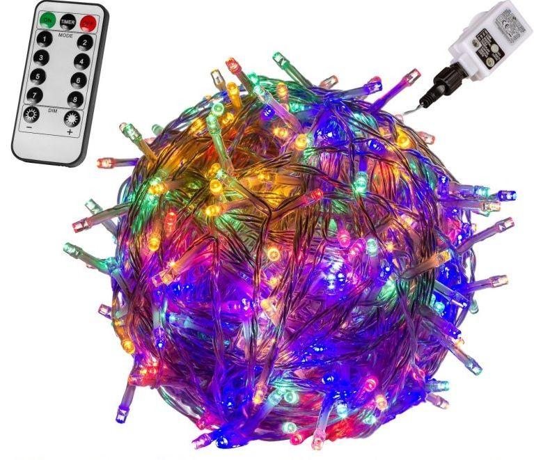 Świąteczne LED oświetlenie - 20 m, kolorowe 200 LED + pilot