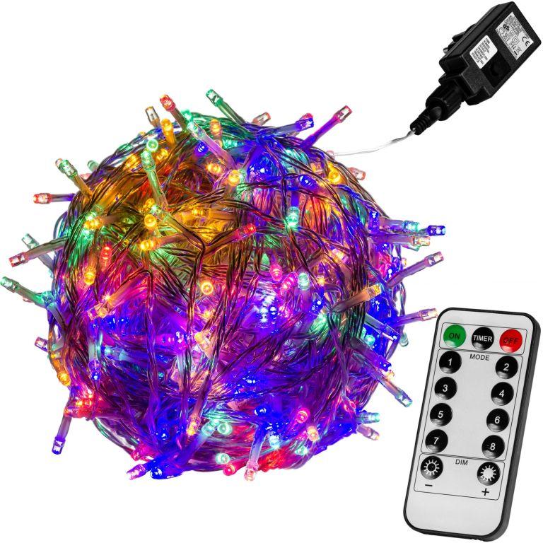Świąteczne LED oświetlenie - 10 m, 100 LED, kolorowe + pilot