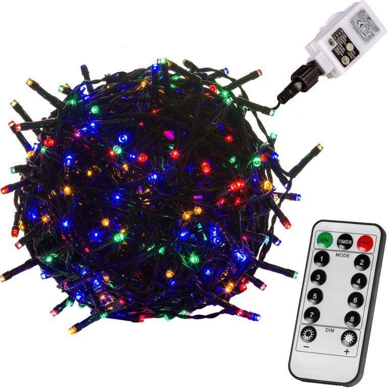 Świąteczne oświetlenie 20 m - 200 LED, kolorowe + pilot