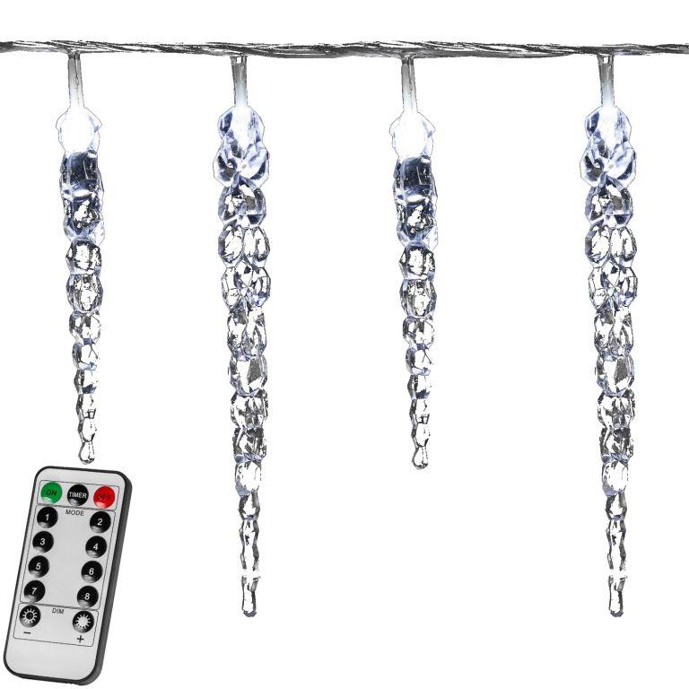 Świąteczne dekoracje sople - 40 LED, zimny biały + pilot