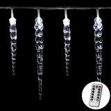 Świąteczne oświetlenie dekoracyjne - sople - 40 LED zimna biel + pilot