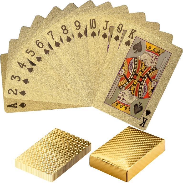 Karty pokerowe plastikowe - złote