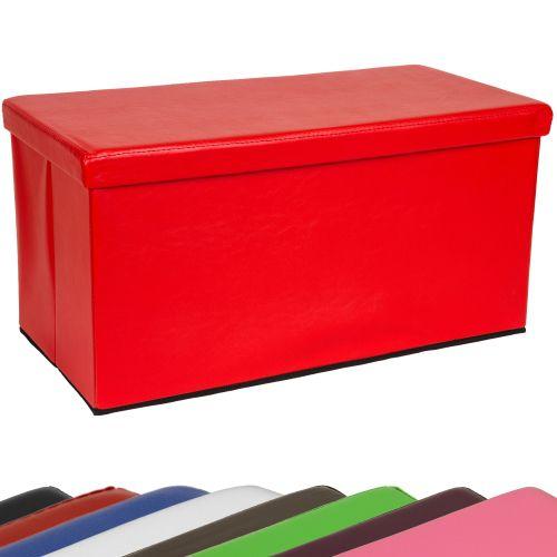 Składana ławka ze schowkiem - czerwony