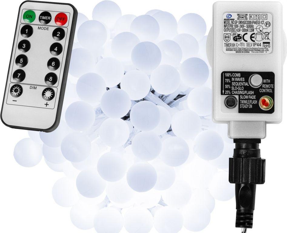 Imprezowe oświetlenie - 5 m, 50 LED, zimna biel + pilot
