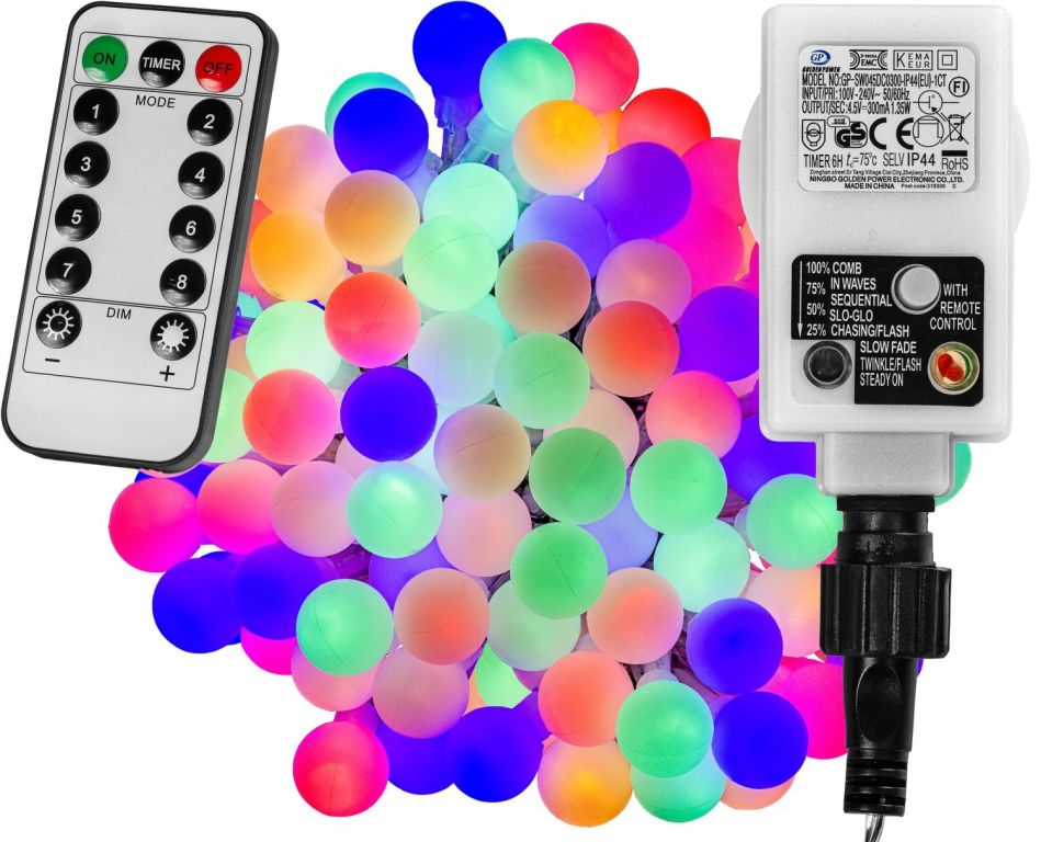 Imprezowe oświetlenie - 5 m, 50 LED, kolor + pilot
