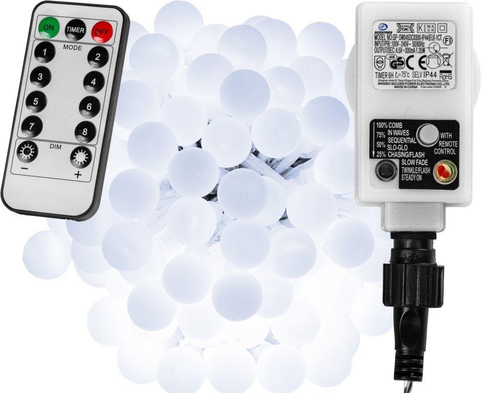 Imprezowe oświetlenie - 10 m, 100 LED, zimna biel + pilot