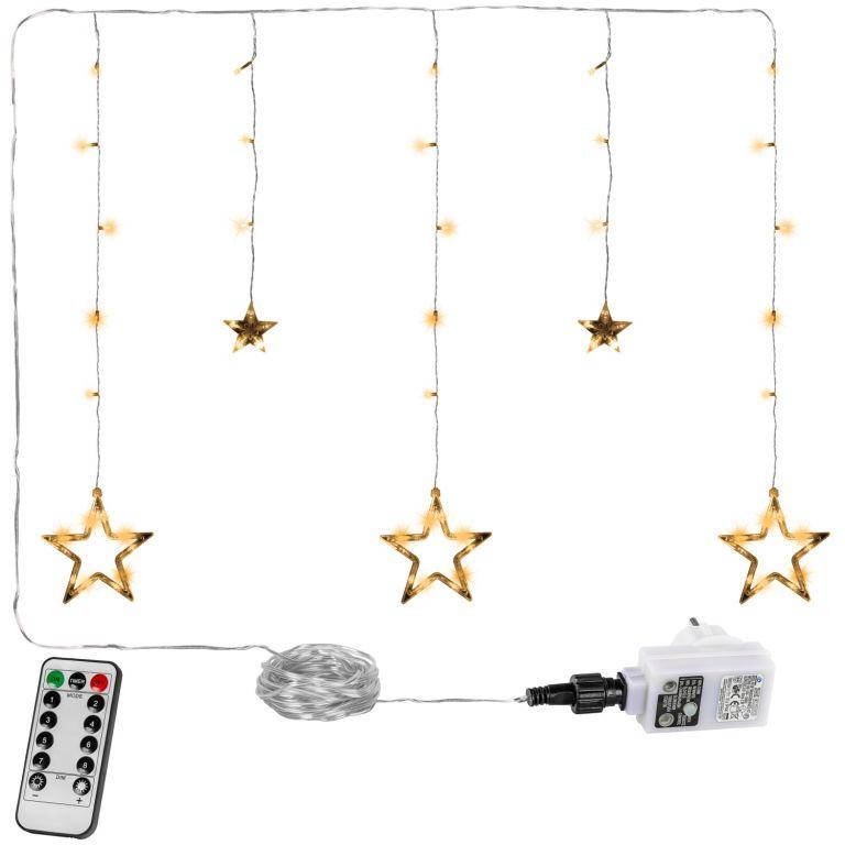 Świąteczny łańcuch - gwiazdki - 61 LED ciepły biały + pilot