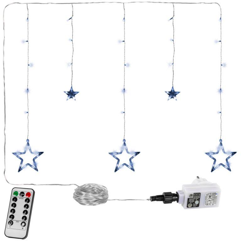 Świąteczna kurtyna - 5 gwiazdek, 61 LED, zimna biel + pilot