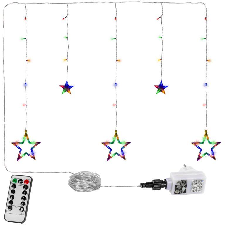 Świąteczna kurtyna - 5 gwiazdek, 61 LED, kolor + pilot