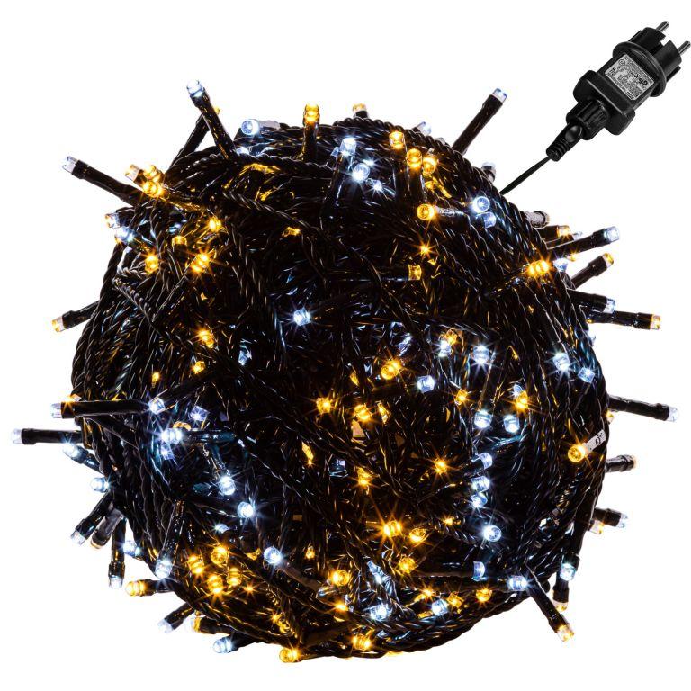 VOLTRONIC Świąteczny łańcuch - 60 m, 600 LED, ciepła / zimna
