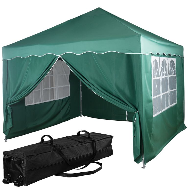 Namiot ogrodowy - 3 x 3 m, zielony + 4 boki