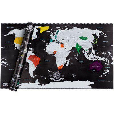 Mapa świata - zdrapka - edycja czarna