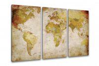 Antyczna mapa świata na płótnie 120 x 80 cm