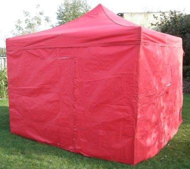 Namiot ogrodowy party DELUXE nożycowy + ściana boczna - 3 x 3 m czerwony