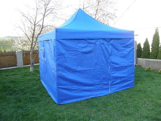 Ogrodowy namiot party DELUXE nożycowy + ściany boczne - 3 x 3 m niebieski