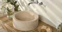 Umywalka z kamienia naturalnego MIRUM 509 nablatowa Ø40 cm Cream