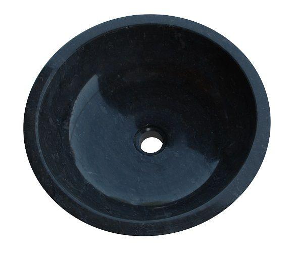 Umywalka z kamienia naturalnego Gemma 501 polerowany marmur Ø45 cm Black.