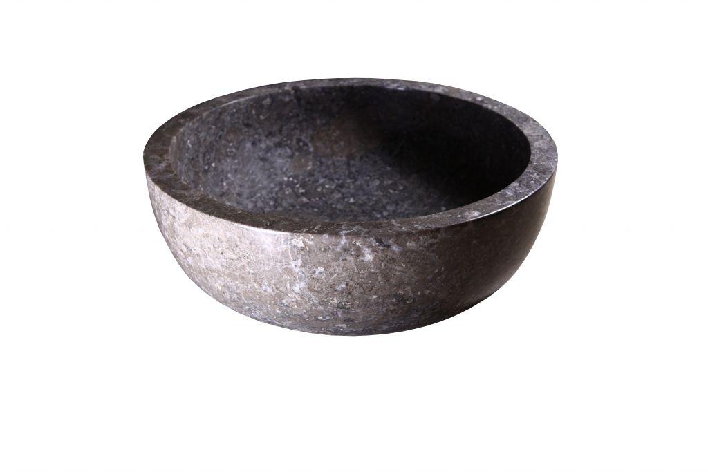 Umywalka z kamienia naturalnego Gemma 501 polerowany marmur Ø45 cm Grey.
