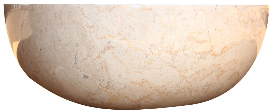 Umywalka z kamienia naturalnego Gemma 501 polerowany marmur Ø45 cm Cream.