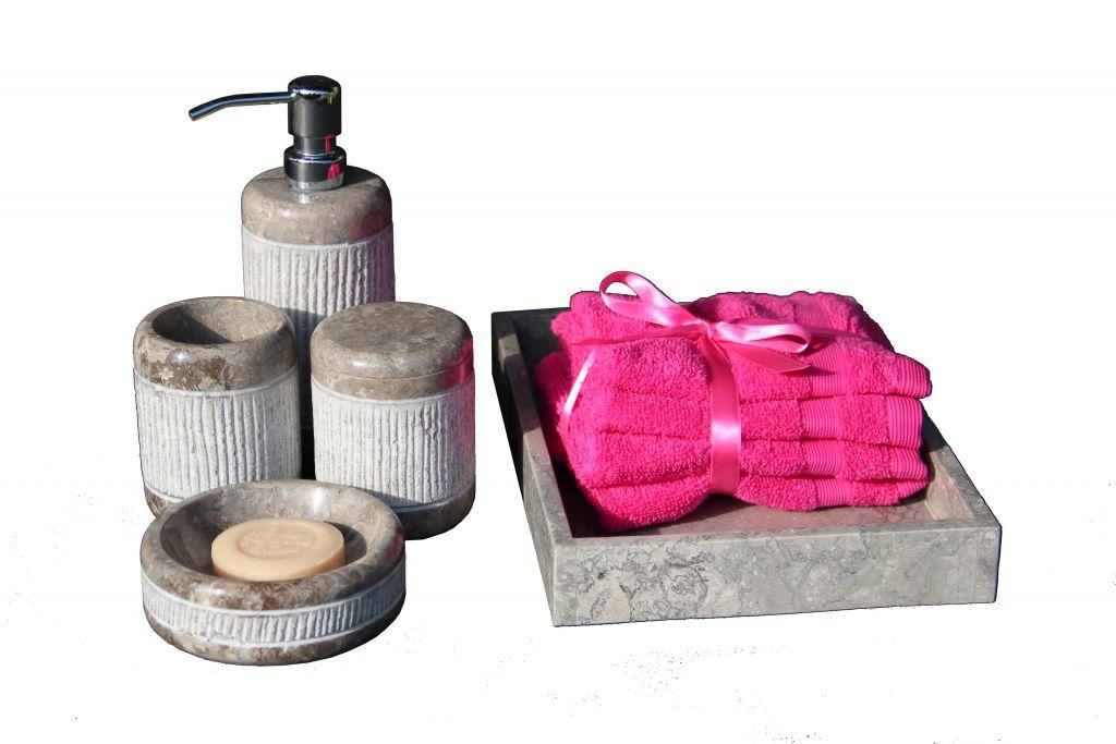 Kamienny zestaw łazienkowy Grey