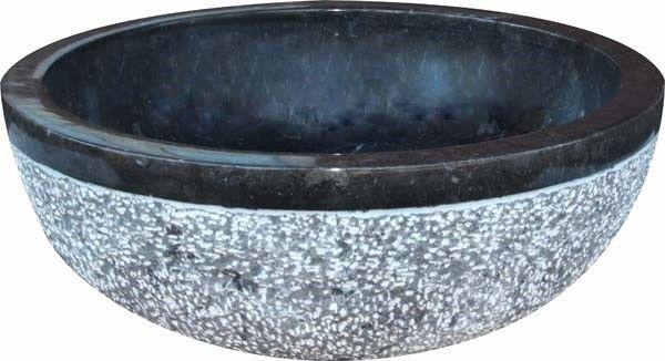 Umywalka z naturalnego kamienia Gemma 516 Ø45 cm Czarny