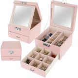 Pudełko na biżuterię z lustrem - różowe