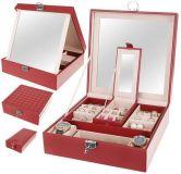 Pudełko na biżuterię z lustrem Deluxe - czerwone