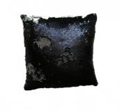 Poszewka z cekinami MAGIC 40 x 40 cm - czarny / matowy srebr