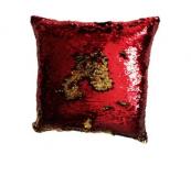 Poszewka z cekinami MAGIC 40 x 40 cm - czerwony / złoty