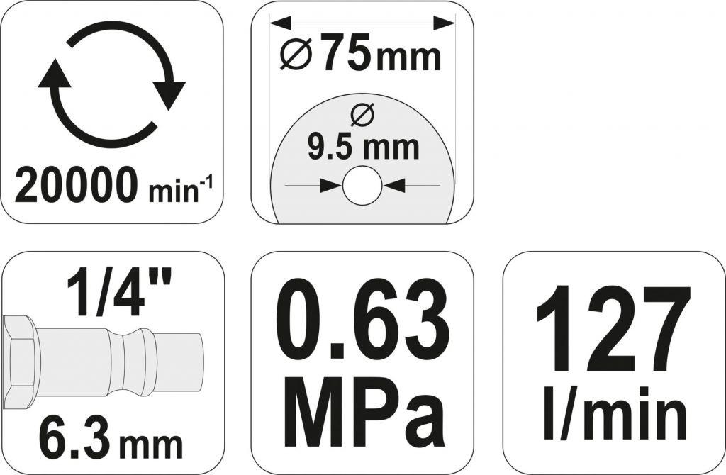 Krzyżowa szlifierka pneumatyczna - 20000 obr./min