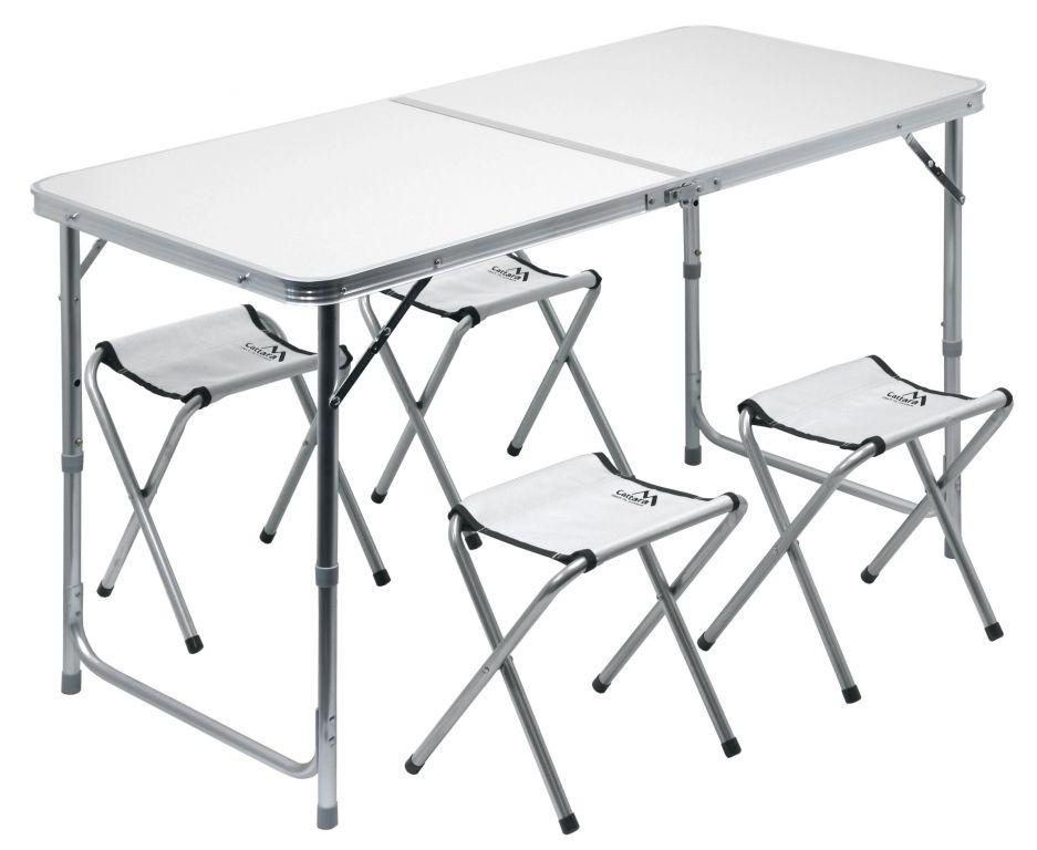 Zestaw kempingowy DOUBLE szary, 4 krzesła