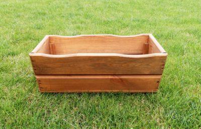 Kwietnik donica ozdobny drewniany 44 cm brązowy