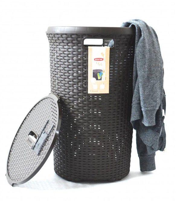 Kosz na pranie ROUND STYLE 48L - brązowy