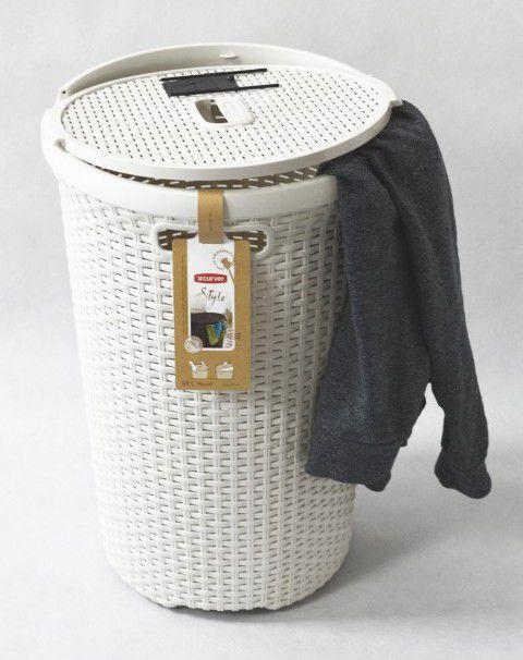 Kosz na pranie ROUND STYLE 48L - kremowy