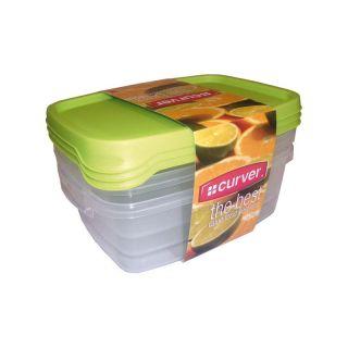 Zestaw 3x plastikowy pojemnik TAKE AWAY FOODK 1,2l - zielon