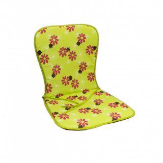 Poduszka na krzesło SAMOA - zielone z kwiatami 30330-220