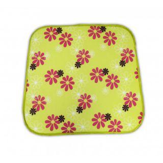 Poduszka na krzesło SABA - zielona z kwiatami 30330-220