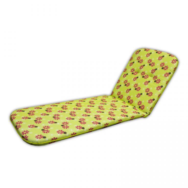 Poduszka na leżak SCALA LIEGE - zielona z kwiatami