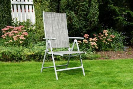 Krzesło ogrodowe składane ANF-26C szare, regulacja oparcia