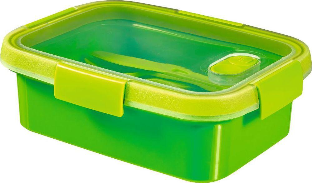 Pojemnik i sztućce SMART TO GO 1L - zielony