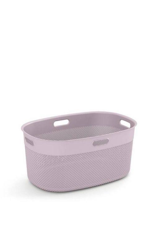 Plastikowy kosz FILO na czystą bieliznę - różowy